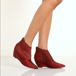 Matisse Nugent Red Leather Ankle Boots Booties